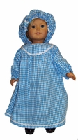 American Girl Doll Blue Colonial Nightgown With Cap
