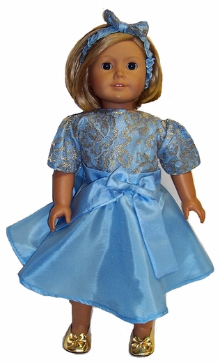 American Girl Doll Bright Blue Party Dress With Headband