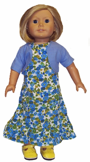 American Girl Doll Clothes Blue Ruffle Dress