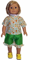 American Girl Doll Green Shorts & Shirt