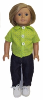 American Girl Doll Jeans and Green Blouse
