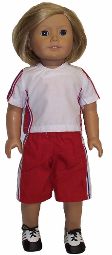 American Girl Doll Red Soccer Setup