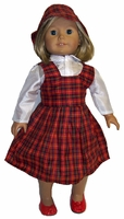 American Girl Doll School Jumper, Blouse & Hat