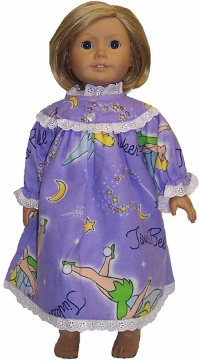 American Girl Doll Tinkerbell Purple Nightgown