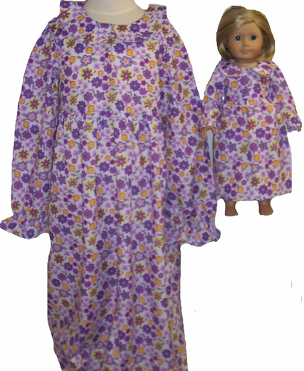 Available For Girl & Doll Purple Nightgown Size 7