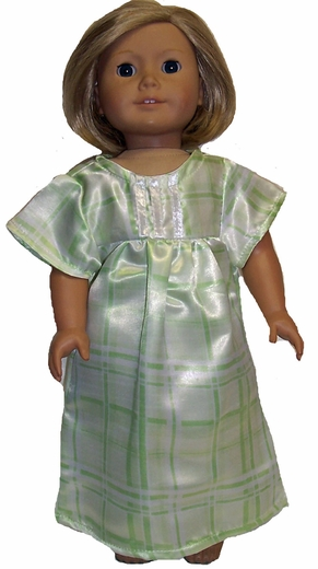 Available For Girls & Doll Green Satin Nightgown Size 7