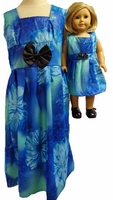 Matching Girl And Doll Clothes Blue Dress Size 14