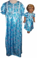 Available For Girls & Dolls Blue Satin Nightgown Size 12