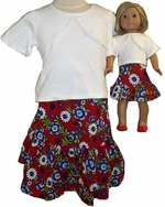 Matching Girl And Doll Flower Skirt With White T Size 8