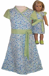 Matching Doll And Girl Clothes Green & Blue Dress Size 6