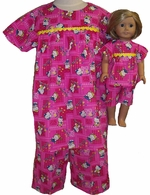 Available For Girls & Dolls Kitty Shorty Pajamas Size  10