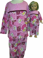 Available For Girls & Dolls Pink Bear Pajamas Size 5