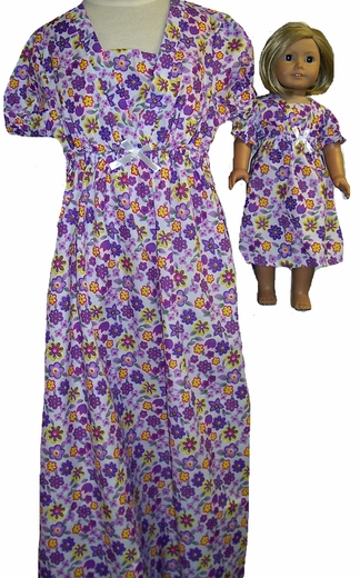 Available For Girls & Dolls Purple Flower Nightgown Size 10