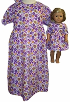Matching Girls & Dolls Purple Nightgown Size 7