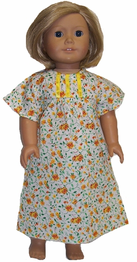 Available For Girls & Dolls Size 10 Yellow Flower Nightgown