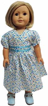 Matching Girl & Doll Clothes Size 5 Blue Calico Dress