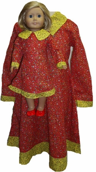 Available For Girls & Dolls Size 7 Matching Red Prairie Dress