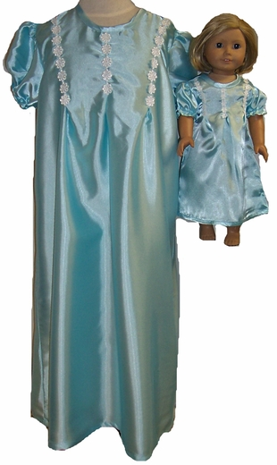 Matching Girls & Dolls Size 7 Pretty Blue Nightgown