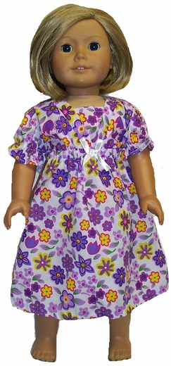 Matching Girls and Dolls Purple Flowers Nightgown Size 8