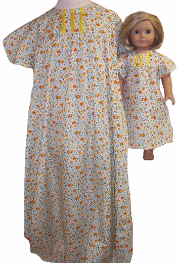 Availalbe For Girls & Doll Size 12 Yellow Flower Nightgown