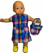 Baby Doll Clothes Blue Madras Dress & Purse