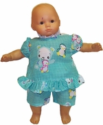 Baby Doll Clothing Green Shorty Pajamas Sleepwear