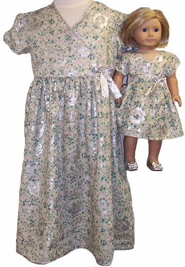 Matching Girl And Doll Clothes Green-Silver Dress Size 6