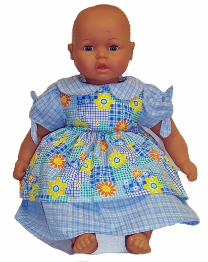 Big Baby Doll Blue Patchwork Dress