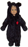 Black Bear Costume For American Girl, 18 Inch and Baby Dolls