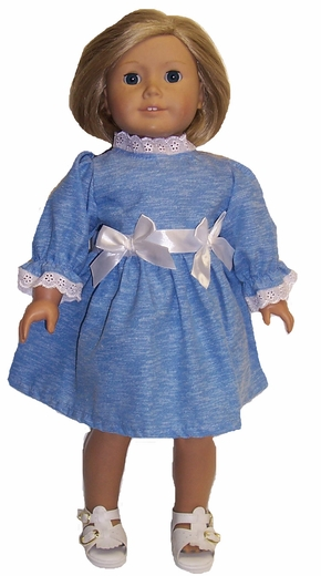 Blue Dress With Bow Trim For American Girl Dolls