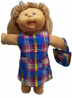 Blue Madras Dress & Purse For Cabbage Patch Kid Dolls