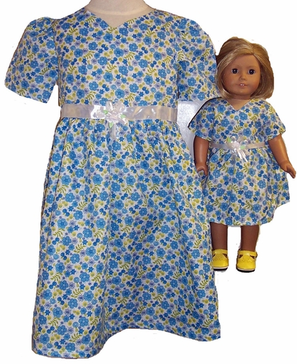 Blue Party Dress Size 5 Matching Doll Dress Available