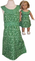 Matching Girls & Dolls Clothes Green Dress Size 12