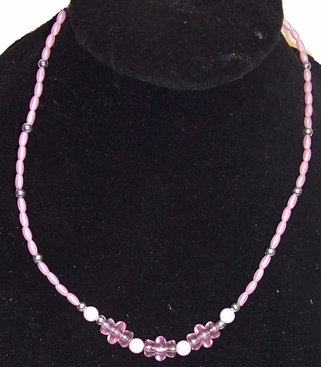 Girls Pink Plastic Bead Necklace