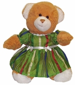 Green Stripe Party Dress For Stuffed Animals
