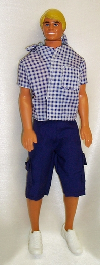 Ken Doll Blue Shorts Check Shirt
