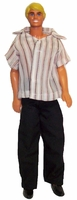 Ken Doll Clothes Black Slacks Short Sleeve Shirt