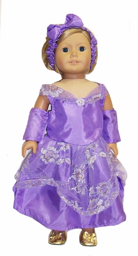 Lavender Princess Dress For 18 Inch Dolls