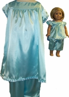 Matching Girl And Doll Aqua PJs Size 10