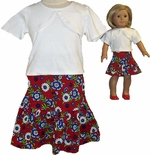 Matching Girl And Doll Clothes Skirt  With Top Size 14