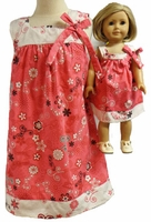 Matching Girl Doll Clothes Coral And Cream Size 4