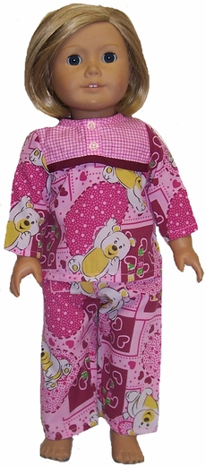 Matching Girl & Doll Clothes Pink Pajamas Size 6