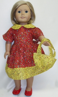 Prairie Style Red Dress Available For Girls & Dolls Size 8