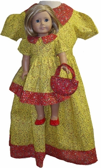 Prairie style Yellow Calico For Girls & Dolls Size 4