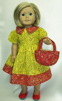Prairie style Yellow Calico For Girls & Dolls Size 5