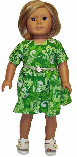 Pretty Green Dress For Girls Size 4: Matching Doll Available