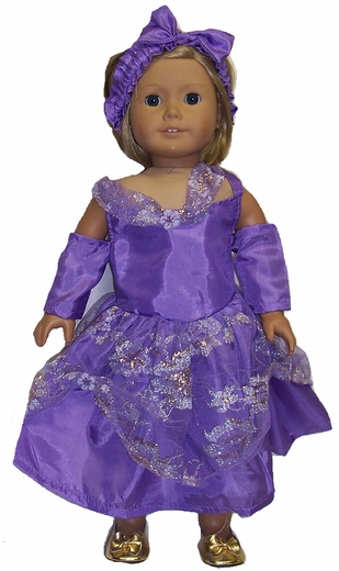 Purple Princess Doll Clothes Dress