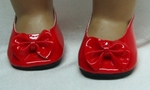 Red Bow Shoes for Baby Dolls