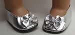 Silver Bow Shoes for Bitty Baby Doll