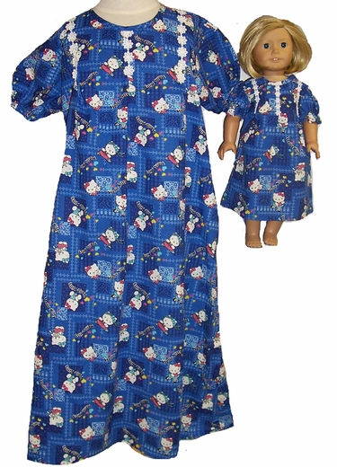 Size 6 Hello Kitty Nightgown, Matching Doll Nightgown Available